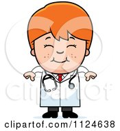 Cartoon Of A Happy Red Haired Doctor Or Veterinarian Boy Royalty Free Vector Clipart