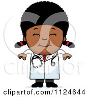 Cartoon Of A Happy Black Doctor Or Veterinarian Girl Royalty Free Vector Clipart by Cory Thoman