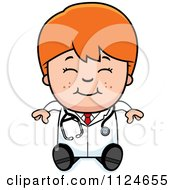 Cartoon Of A Happy Red Haired Doctor Or Veterinarian Boy Sitting Royalty Free Vector Clipart