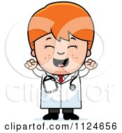 Cartoon Of A Happy Red Haired Doctor Or Veterinarian Boy Cheering Royalty Free Vector Clipart