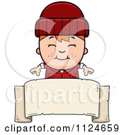 Cartoon Of A Happy Red Haired Lumberjack Boy Over A Banner Sign Royalty Free Vector Clipart