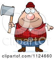 Happy Chubby Male Lumberjack Holding An Axe