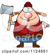 Cartoon Of A Happy Chubby Female Lumberjack Holding An Axe Royalty Free Vector Clipart by Cory Thoman