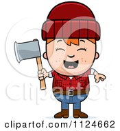 Happy Red Haired Lumberjack Boy Holding An Axe