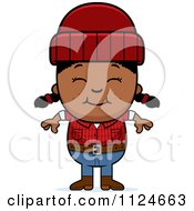 Cartoon Of A Happy Black Lumberjack Girl Royalty Free Vector Clipart by Cory Thoman
