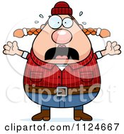 Cartoon Of A Panicking Chubby Female Lumberjack Royalty Free Vector Clipart