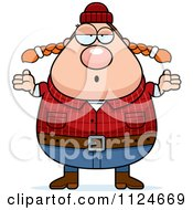 Cartoon Of A Careless Shrugging Chubby Female Lumberjack Royalty Free Vector Clipart