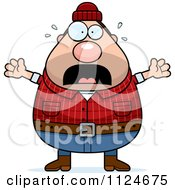 Cartoon Of A Panicking Chubby Male Lumberjack Royalty Free Vector Clipart