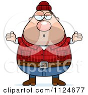 Cartoon Of A Careless Shrugging Chubby Male Lumberjack Royalty Free Vector Clipart