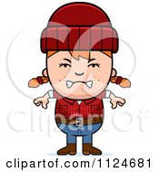 Cartoon Of An Angry Red Haired Lumberjack Girl Royalty Free Vector Clipart by Cory Thoman