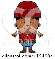 Cartoon Of A Happy Black Lumberjack Boy Royalty Free Vector Clipart by Cory Thoman