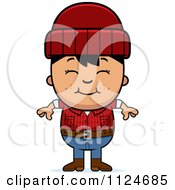 Cartoon Of A Happy Asian Lumberjack Boy Royalty Free Vector Clipart