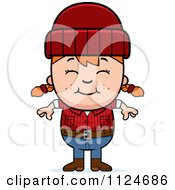 Cartoon Of A Happy Red Haired Lumberjack Girl Royalty Free Vector Clipart by Cory Thoman