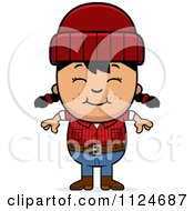 Cartoon Of A Happy Asian Lumberjack Girl Royalty Free Vector Clipart by Cory Thoman
