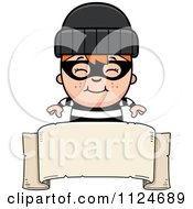 Cartoon Of A Happy Red Haired Robber Boy Over A Banner Sign Royalty Free Vector Clipart