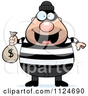Cartoon Of A Happy Chubby Burglar Or Robber Man Holding A Money Bag Royalty Free Vector Clipart