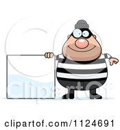 Cartoon Of A Happy Chubby Burglar Or Robber Man With A Sign Royalty Free Vector Clipart