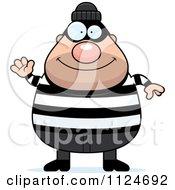 Cartoon Of A Happy Chubby Burglar Or Robber Man Waving Royalty Free Vector Clipart by Cory Thoman