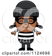 Cartoon Of A Happy Black Robber Girl Royalty Free Vector Clipart