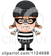 Cartoon Of An Angry Red Haired Robber Girl Royalty Free Vector Clipart