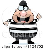 Cartoon Of A Happy Chubby Burglar Or Robber Man With An Idea Royalty Free Vector Clipart