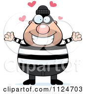Cartoon Of A Happy Chubby Burglar Or Robber Man Wanting A Hug Royalty Free Vector Clipart