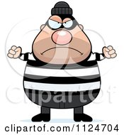Cartoon Of An Angry Chubby Burglar Or Robber Man Royalty Free Vector Clipart