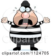 Cartoon Of A Scared Chubby Burglar Or Robber Man Royalty Free Vector Clipart