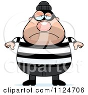 Cartoon Of A Depressed Chubby Burglar Or Robber Man Royalty Free Vector Clipart