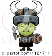 Cartoon Of A Happy Ogre Boy With A Sword And Shield Royalty Free Vector Clipart by Cory Thoman