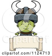 Cartoon Of A Happy Ogre Boy Over A Banner Sign Royalty Free Vector Clipart