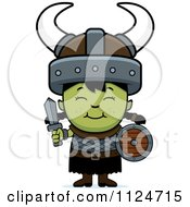 Cartoon Of A Happy Ogre Girl With A Sword And Shield Royalty Free Vector Clipart by Cory Thoman