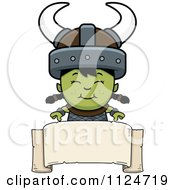 Cartoon Of A Happy Ogre Girl Over A Banner Sign Royalty Free Vector Clipart