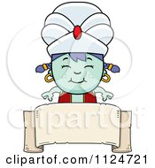 Cartoon Of A Happy Genie Girl Over A Banner Sign Royalty Free Vector Clipart by Cory Thoman