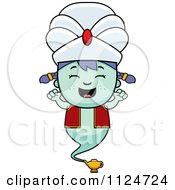 Cartoon Of A Happy Genie Girl Cheering Royalty Free Vector Clipart by Cory Thoman