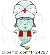 Cartoon Of A Happy Genie Boy Royalty Free Vector Clipart by Cory Thoman