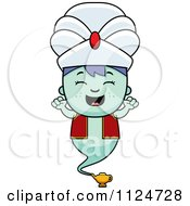 Cartoon Of A Happy Genie Boy Cheering Royalty Free Vector Clipart by Cory Thoman