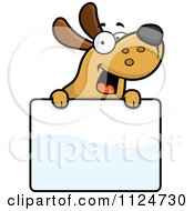 Cartoon Of A Happy Dog Over A Sign Royalty Free Vector Clipart