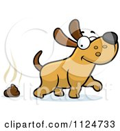 Cartoon Of A Happy Dog Walking Away From Poop Royalty Free Vector Clipart