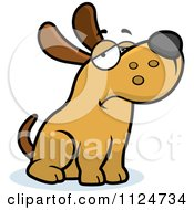 Cartoon Of A Depressed Dog Sitting Royalty Free Vector Clipart