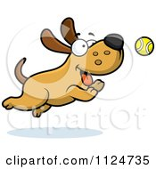 Cartoon Of A Happy Dog Chasing A Tennis Ball Royalty Free Vector Clipart