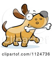Cartoon Of A Happy Dog Strutting With A Bone Royalty Free Vector Clipart by Cory Thoman