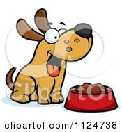 Cartoon Of A Happy Dog With A Bowl Of Food Royalty Free Vector Clipart