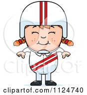 Cartoon Of A Happy Red Haired Daredevil Stunt Girl Royalty Free Vector Clipart