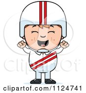 Cartoon Of A Happy Red Haired Daredevil Stunt Boy Cheering Royalty Free Vector Clipart