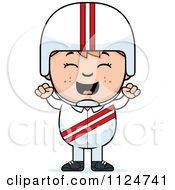 Happy Red Haired Daredevil Stunt Boy Cheering