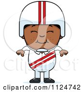 Cartoon Of A Happy Black Daredevil Stunt Boy Royalty Free Vector Clipart