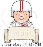 Cartoon Of A Happy Red Haired Daredevil Stunt Boy Over A Banner Sign Royalty Free Vector Clipart