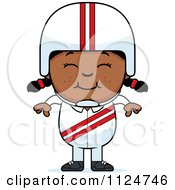 Cartoon Of A Happy Black Daredevil Stunt Girl Royalty Free Vector Clipart