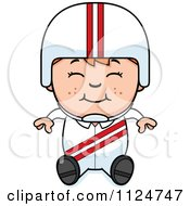 Cartoon Of A Happy Red Haired Daredevil Stunt Boy Sitting Royalty Free Vector Clipart
